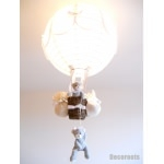 lampe montgolfière enfant bébé ours et oursonne lustre suspension  gris et blanc mixte fille garçon allumée