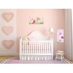 Toise enfant bébé fille envol de papillons rose violet parme vert anis fuschia paillette décoration 4