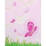 Toise enfant bébé fille envol de papillons rose violet parme vert anis fuschia paillette décoration 7 zoom