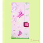 Toise enfant bébé fille envol de papillons rose violet parme vert anis fuschia paillette décoration 77