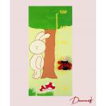 Toise enfant bébé thème forêt lapin vert d'eau marron champignon coccinelles