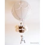 lampe montgolfière enfant bébé ours et oursonne gris et blanc mixte fille garçon