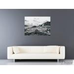 tableau contemporain paysage noir et blanc montagne peint à la main