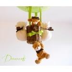 lampe montgolfière enfant bébé ours et oursonne vert anis et marron chocolat lustre suspension brun décoration