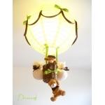 lampe montgolfière enfant bébé ours et oursonne vert anis et marron chocolat lustre suspension brun décoration allumée