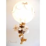 lampe montgolfière enfant bébé ours et oursonne beige ivoire marron noisette chocolat lustre suspension abat-jour décoration mixte fille garçon allumée