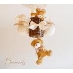 lampe montgolfière enfant bébé ours et oursonne beige ivoire marron noisette chocolat lustre suspension abat-jour décoration mixte fille garçon zoom