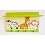 étagère porte manteau thème jungle safari brousse forêt tropicale girafe lion zèbre bois massif pin vert anis