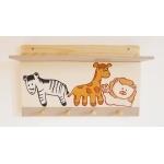 étagère porte manteau thème jungle safari brousse forêt tropicale girafe lion zèbre bois massif pin beige marron chocolat