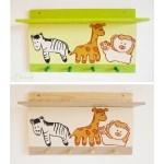étagère porte manteau thème jungle safari brousse forêt tropicale girafe lion zèbre bois massif pin beige marron chocolat et vert anis