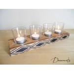 bougeoir bois ethnique afrique motifs peint à la main photophore verre marron noir