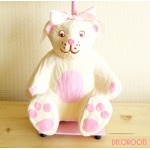 lampe de chevet enfant bébé oursonne fille rose et beige collection gourmandise zoom
