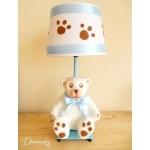 lampe de chevet enfant bébé garçon ours polaire blanc bleu marron chocolat décoration ourson