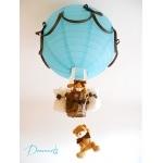 Lampe montgolfière garçon bleu turquoise chocolat.