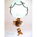 lampe montgolfière enfant bébé ours et oursonne marron chocolat turquoise garçon abat-jour lustre suspension décoration allumée