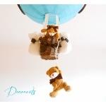 lampe montgolfière enfant bébé ours et oursonne marron chocolat turquoise garçon abat-jour lustre suspension décoration zoom