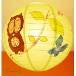 abat-jour enfant bébé vert marron chocolat bleu nature chouette hibou décoration lustre suspension papillon arbre