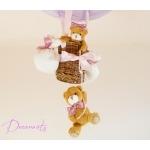 lampe enfant bébé montgolfière ours et oursonne marron lila violet parme rose vieux décoration fille lustre suspension abat-jour zoom