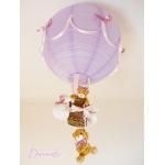 lampe enfant bébé montgolfière ours violet parme