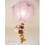 lampe enfant bébé montgolfière ours et oursonne marron lila violet parme rose vieux décoration fille lustre suspension abat-jour allumée