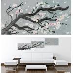 tableau cerisier en fleurs nature zen gris blanc noir rose décoration 3