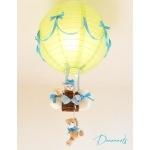 lampe montgolfière enfant bébé ours et oursonne beige vert et bleu turquoise garçon lustre abat jour suspension allumée