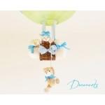 lampe montgolfière enfant bébé ours et oursonne beige vert et bleu turquoise garçon lustre abat jour suspension zoom
