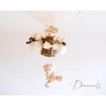 lampe montgolfière enfant bébé ours et oursonne peluche marron chocolat beige noisette ivoire décoration mixte lustre suspension abat-jour zoom