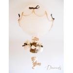 lampe montgolfière enfant bébé ours et oursonne peluche marron chocolat beige noisette ivoire décoration mixte lustre suspension abat-jour