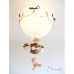 lampe montgolfière enfant bébé ours et oursonne peluche marron chocolat beige noisette ivoire décoration mixte lustre suspension abat-jour allumée