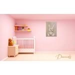 tableau enfant bébé lapin en peluche beige taupe marron chocolat décoration mixte fille garçon sf normal rose