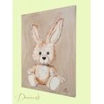 tableau enfant bébé lapin en peluche beige taupe marron chocolat décoration mixte fille garçon sf normal profil