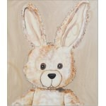 tableau enfant bébé lapin en peluche beige taupe marron chocolat décoration mixte fille garçon sf normal AF ZOOM