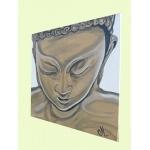 tableau zen ethnique bouddha blanc marron taupe moderne contemporain peint à la main décoration chambre salon PROFIL
