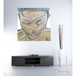 tableau zen ethnique bouddha blanc marron taupe moderne contemporain peint à la main décoration chambre salon 3