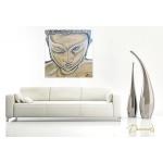 tableau zen ethnique bouddha blanc marron taupe moderne contemporain peint à la main décoration chambre salon 2