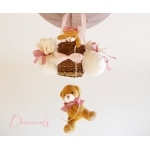lampe enfant bébé montgolfière ours et oursonne peluche rose pastel taupe vieux rose marron décoration chambre lustre suspension abat-jour zoom