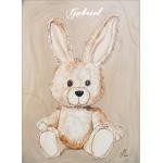tableau enfant bébé lapin en peluche beige taupe marron chocolat décoration mixte fille garçon sf normal AF