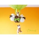 lampe montgolfière enfant bébé girafe thème jungle safari abat jour lustre lampe luminaire vert anis marron chocolat décoration 2