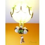 lampe montgolfière enfant bébé girafe thème jungle safari abat jour lustre lampe luminaire vert anis marron chocolat allumée 2