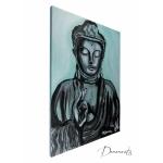 tableau ethnique zen bouddha noir et blanc vert de gris peint à la main décoration PROFIL