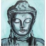 tableau ethnique zen bouddha noir et blanc vert de gris peint à la main décoration ZOOM