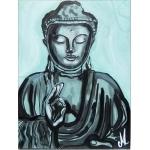tableau ethnique zen bouddha noir et blanc vert de gris peint à la main décoration AF