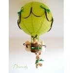lampe montgolfière enfant bébé lapin et lapine peluche vert anis forêt nature marron chocolat thème forêt décoration chambre lustre abat-jour luminaire mixte fille garçon