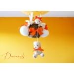 lampe montgolfière enfant bébé ours et oursonne peluche orange beige blanc luminaire lustre suspension abat-jour décoration mixte zoom
