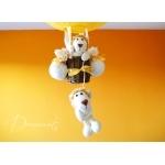 lampe montgolfière enfant bébé thème jungle safari brousse lion jaune et beige décoration mixte zoom