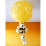 lampe montgolfière enfant bébé jungle lion jaune et beige
