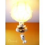 lampe montgolfière enfant bébé thème jungle safari brousse lion jaune et beige décoration mixte allumée