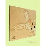 tableau enfant bébé lapin en peluche beige taupe marron chocolat décoration mixte fille garçon sf cache cache décoration