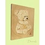 tableau enfant bébé ours en peluche beige marron taupe petit ange décoration mixte fille garçon AF décoration